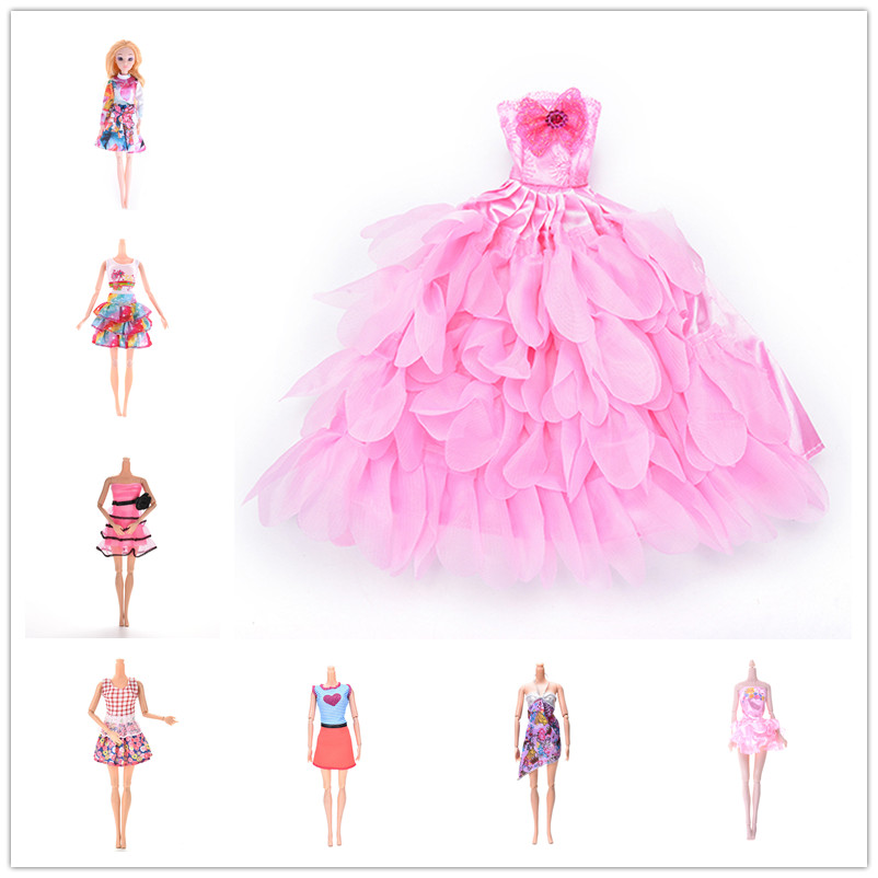 Many Style Doll Dress Clothes Clothing Elegant Lace Multi Layers Wedding Dress For Barbie Doll Luxury Floral Dolls Accessories