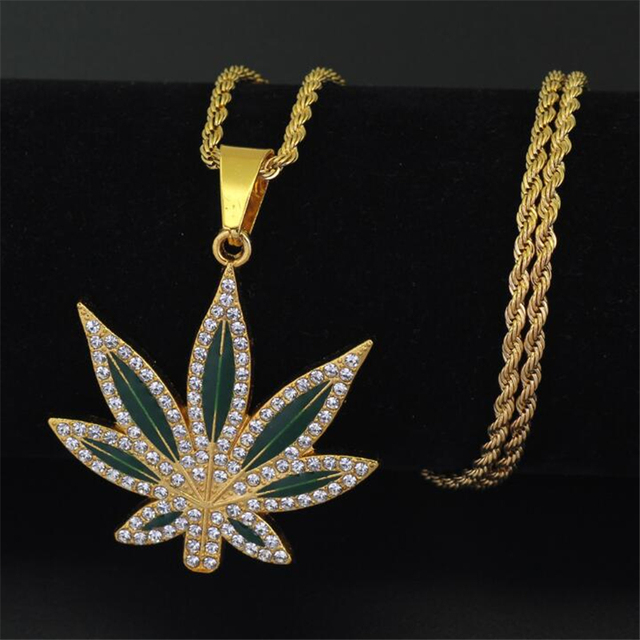 Women Men Christmas Gift Hot Pendant Necklace Hiphop Weed Leaf Maple Leaf Chain  Hip Hop Jewelry men woman pendant necklaces 63ef126b84