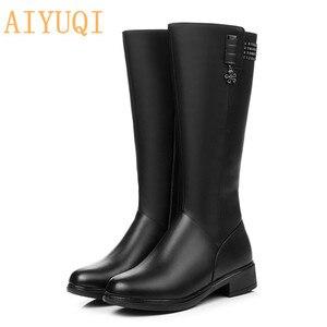 Image 5 - Femmes chaussures dhiver bottes en cuir véritable elle à talons hauts fille longue laine fille frail dame chaussures de mode bottes militaires
