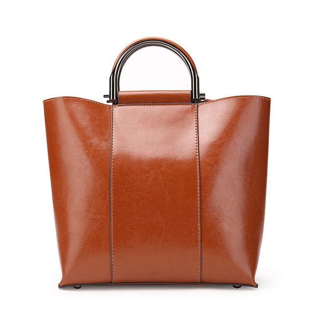 European Bag Oil Wax Cow Leather Handbag Brand New 2018 Women Genuine Tote Shoulder
