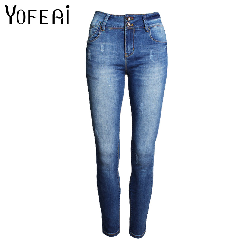 YOFEAI 2017 NEW Mid Waist Washed Jeans Women Fashion Ripped Jeans For Women Denim Femme Sexy