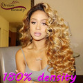 180% Rubio Ombre peluca llena del cordón brasileño de la virgen del pelo de T #2/27 dos Tonos Ombre peluca del frente del cordón rizado suelto cabello humano pelucas