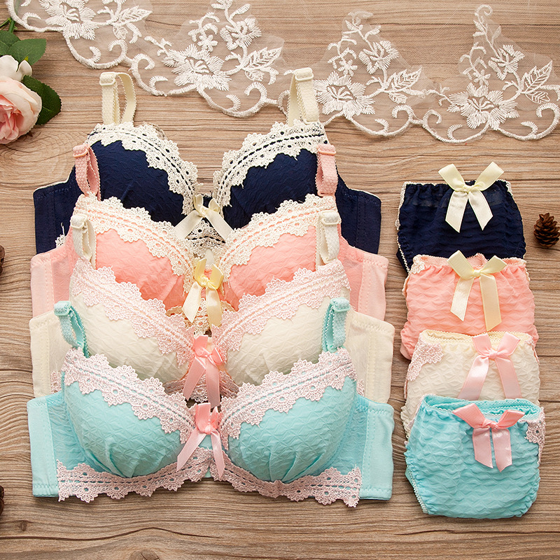 Fatimu Girls Lovely Lace Underwear Suit Push Up   Bra     Sets   Lingerie Solid Push Up   Bras   Underwear Gather Lolita Style 3/4 Cup