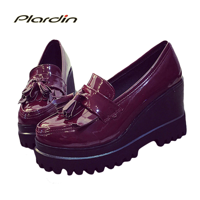 Retro Tassel Flats Women Casual Shoes 2017 Walking Shoes Slip-on Shoes Women Flats with Patent Leather