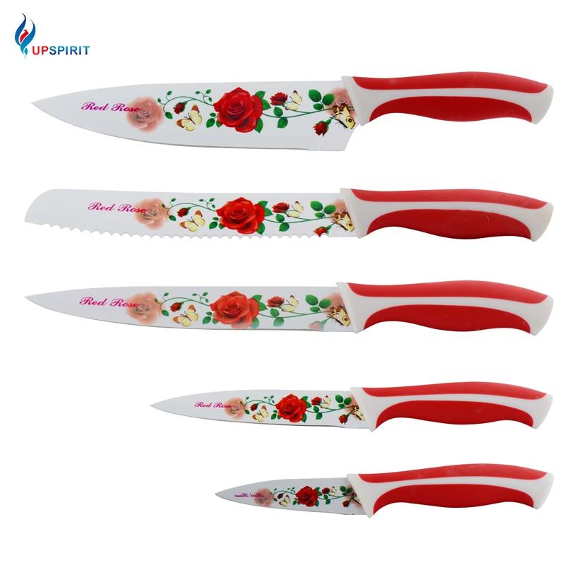Upspirit Acier Inoxydable Couteaux de Cuisine 3.5 5 8 pouces Ensemble Chef Pain Couteaux Couperet Utilitaire Couteau À Éplucher des Fruits 5 PCS Rouge Rose
