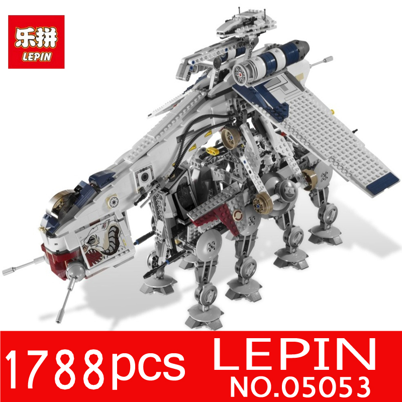 LEPIN 05053 1788pcs Star Series Wars Republic Dropship AT-OT Walker Model Building Blocks Bricks Children Toys Compatible 10195 lepin sets star wars figures 1788pcs 05053 republic dropship with at ot walker model building kits blocks bricks kids toys 10195