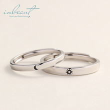 inbeaut 925 Silver Sun Moon Couple Rings Handmade Day&Night Together Forever Implied Wedding Ring for Women Lovers Jewerly