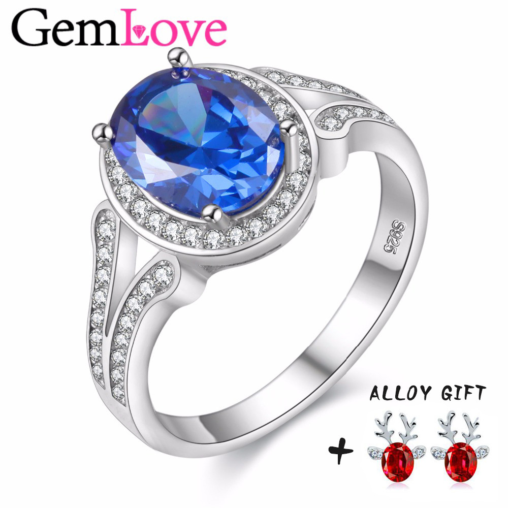 Gemlove Tanzanite Topaz 925 Sterling Silver Rings Wedding Adjustable Finger  Ring For Women Sieraden Anillos Bague Gift 40% Fj043