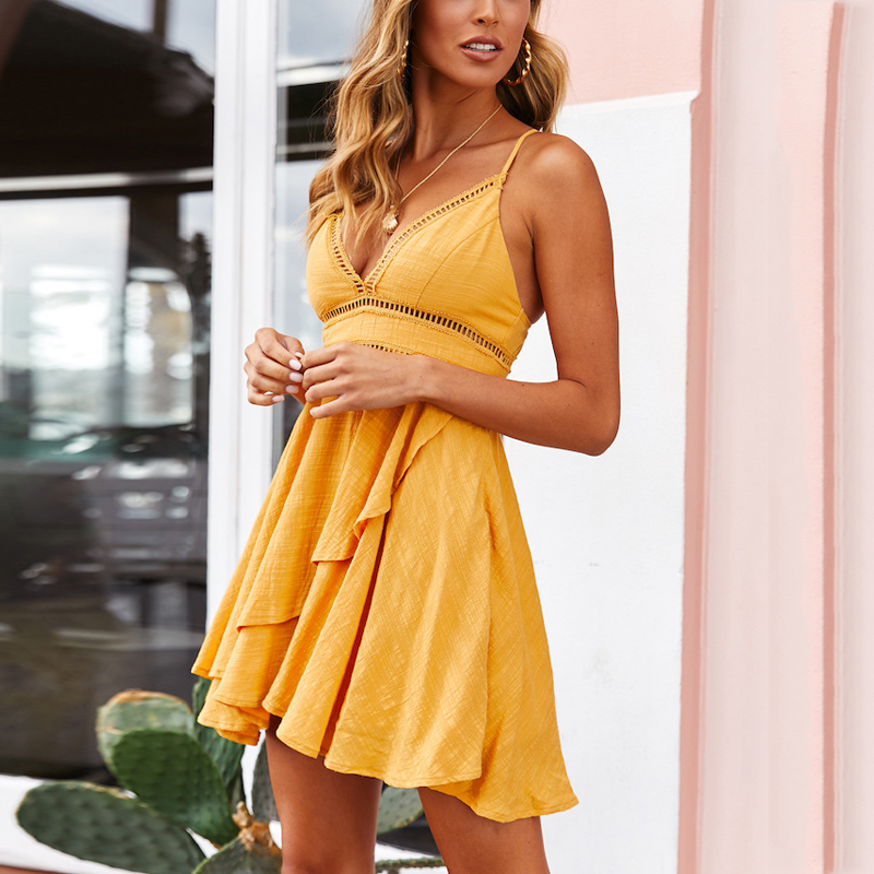 DeRuiLaDy 2019 New Women 100% Cotton Spaghetti Strap Summer Dress Sexy Yellow V Neck Ruffles Mini Dresses Casual Beach Dress