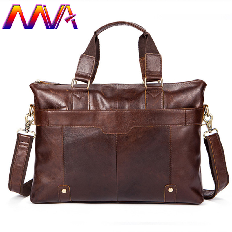 MVA Promotion cow leather men briefcase with 100% genuine leather mens briefcase for fashion men laptop computer shoulder bags стоимость