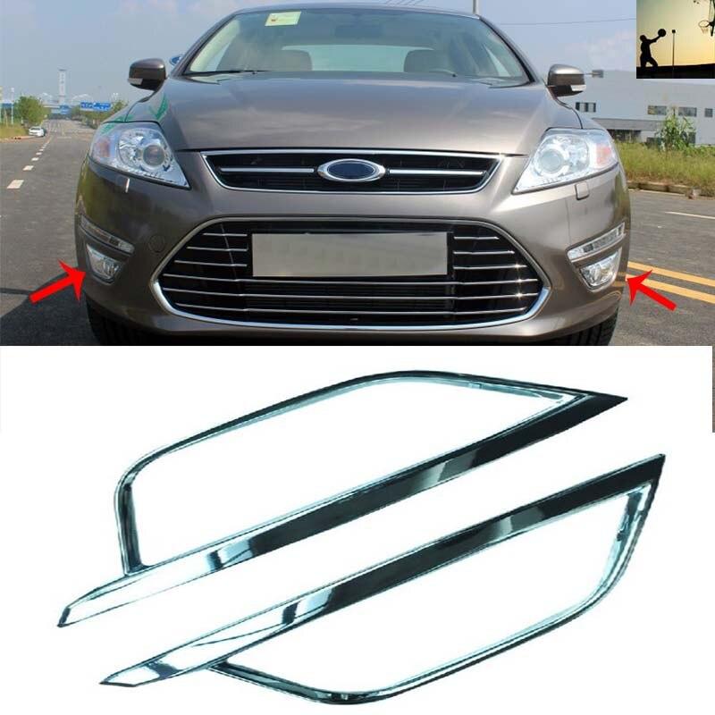 Car le style ABS CHROME avant arrière brouillard lampes COVER VERSION Pour Ford Mondeo troisième génération 2011 2012 2013 2014 De Voiture-style