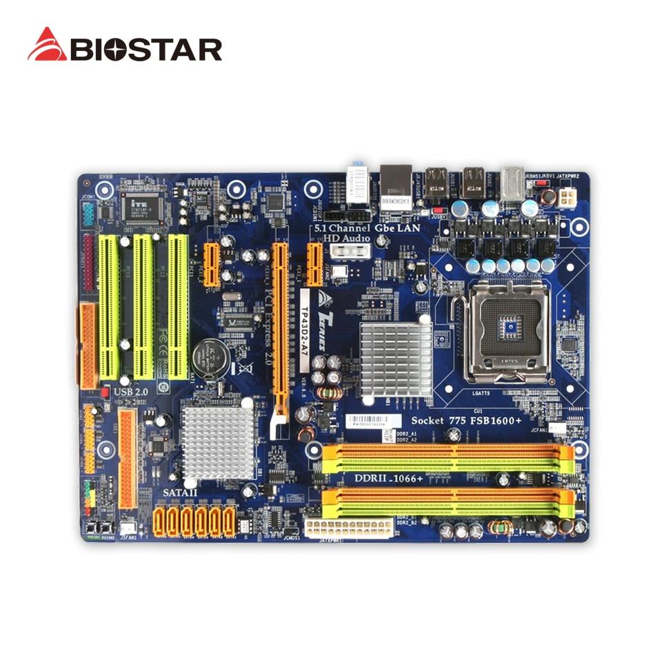 BIOSTAR TP43D2-A7 Original Used Desktop Motherboard P43 LGA 775 DDR2 8G SATA2 USB2.0 ATX used original for biostar hi fi a85s2 fm2 motherboard for amd a85 usb3 0 sata3 motherboard