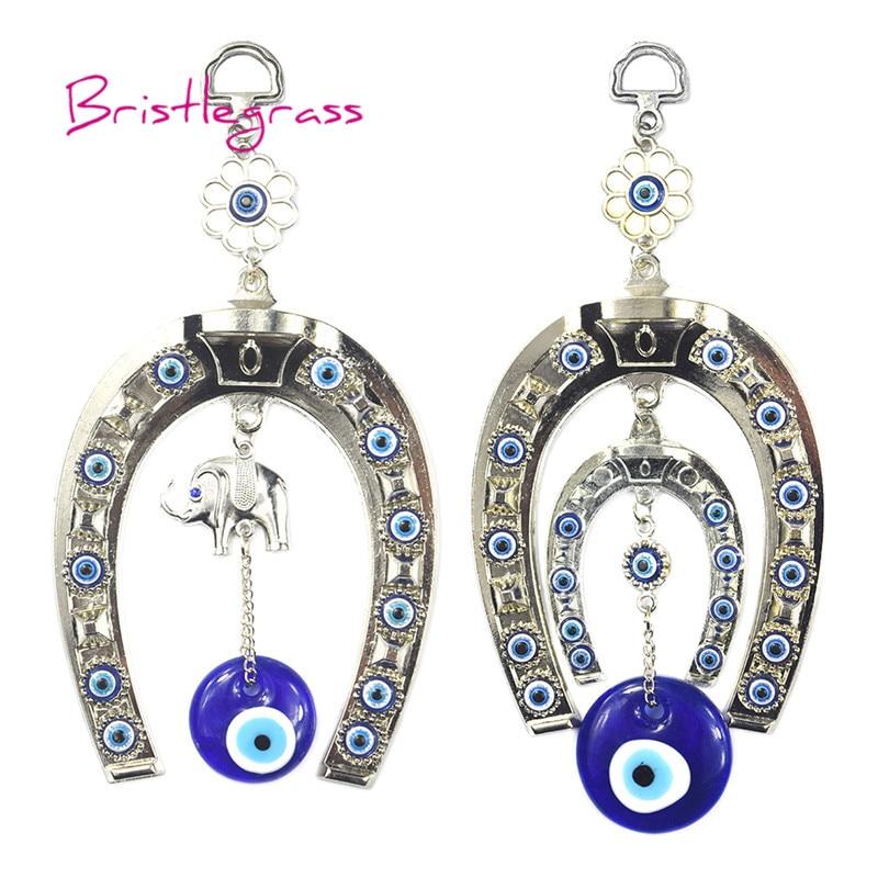 BRISTLEGRASS Turkish Blue Evil Eye Horseshoe Elephant