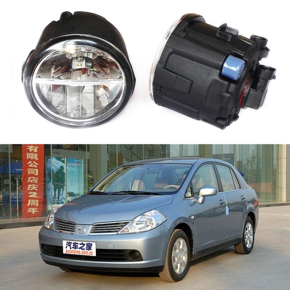 For NISSAN TIIDA Hatchback  2004-2007  LED fog lights Car styling fog lamp 1SET lights auto laser light rain fog snow dust haze weather safety lights for nissan tiida c12 5d hatchback 2011 2015