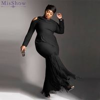 Misshow Plus Size 5XL Long Sleeve Tassel Design Solid Black Women Dress Twilled Satin Gothic Dress for Women Robe Femme
