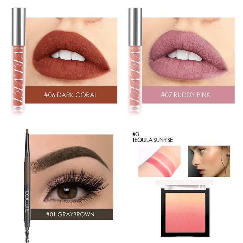 FOCALLURE ежедневный макияж набор 10 шт. отличный подарок для женщин губная помада тени румяна карандаш для бровей - 5