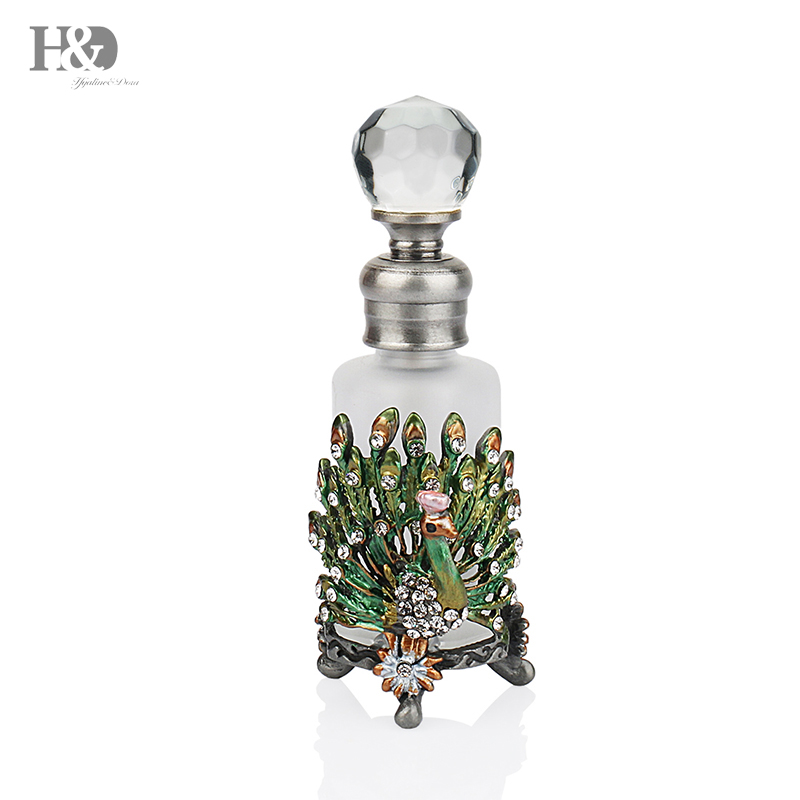 H&D 25ML Pewter Peacock Empty Perfume Bottle Antique Refillable Glass Cosmetic Container Travel Gifts Home Wedding Decoration