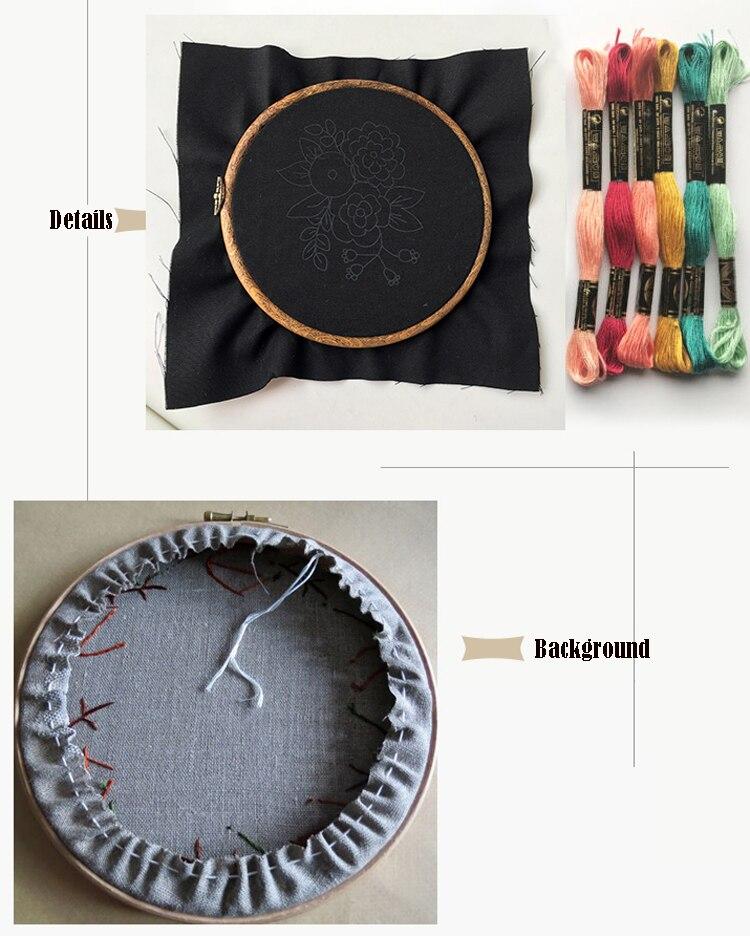 Bordado cinta DIY impresa flor negro para principiantes Kits de ...