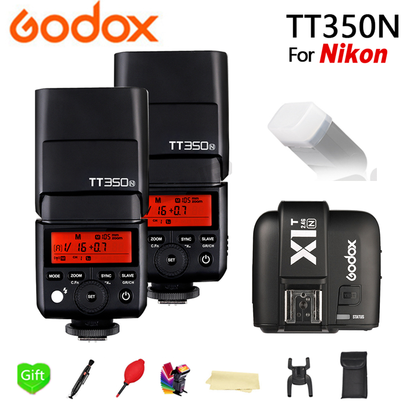 2x Godox TT350N 2,4 г HSS 1/8000 s ttl GN36 Вспышка Speedlite + X1T N передатчик для Nikon D750 d7000 D7100 D7200 D5100 Камера