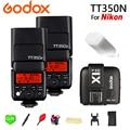 2x Godox TT350N 2.4G HSS 1/8000s TTL Flash Speedlite GN36 + Transmissor para Nikon D750 X1T-N d7000 D7100 D7200 D5100 Câmera