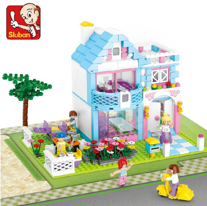 Sluban 0535 Girl Friend Pink Dream Series Building blocks Enlighten Brick Educational DIY girl Villa Toys compatible DIY 0367 sluban 678pcs city series international airport model building blocks enlighten figure toys for children compatible legoe