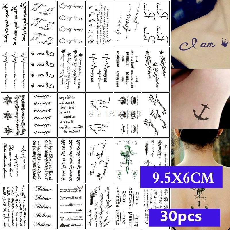MB 30pcs/Set Body Art Waterproof Temporary Tattoo For Women And Men Rose Flower Cat Wolf Face 3D Tatoo Sticker Kids Wholesale