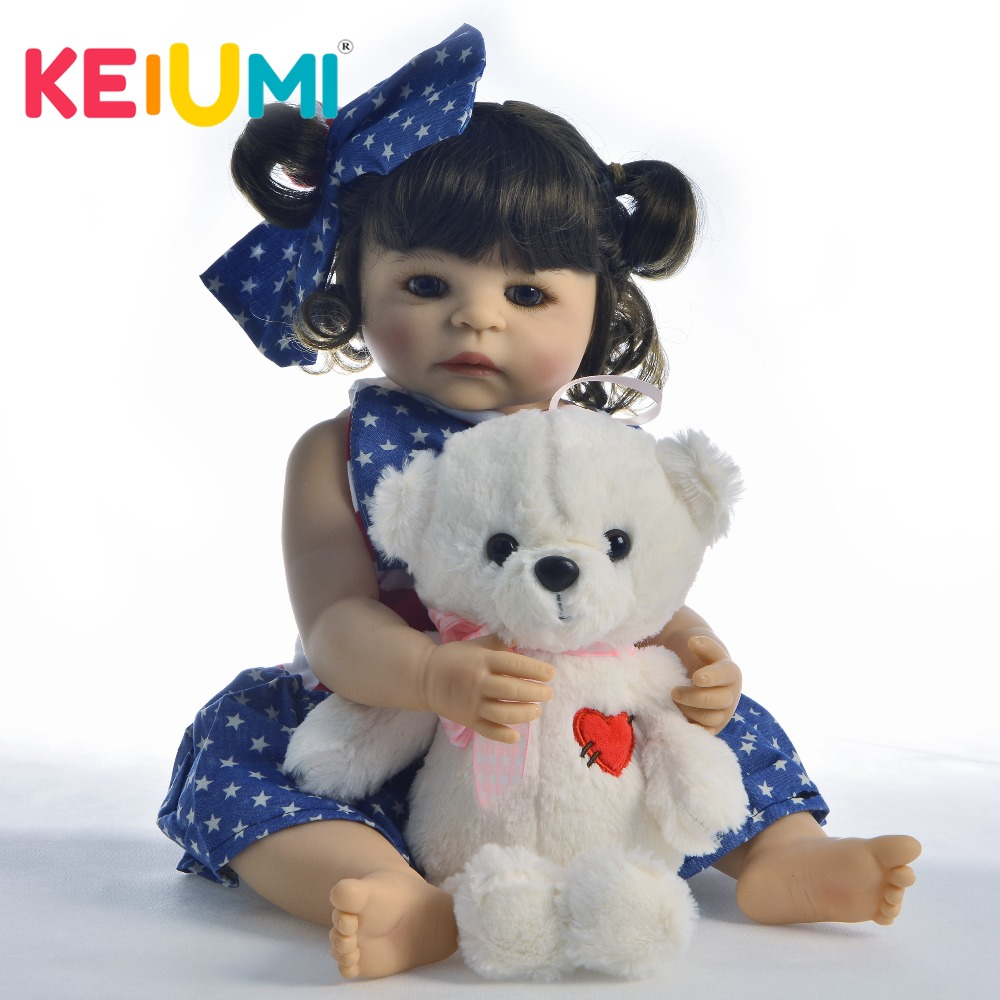 KEIUMI New Arrival 22 Inch Reborn Dolls Girl Babies Silicone Full Body Lifelike Newborn Baby Doll