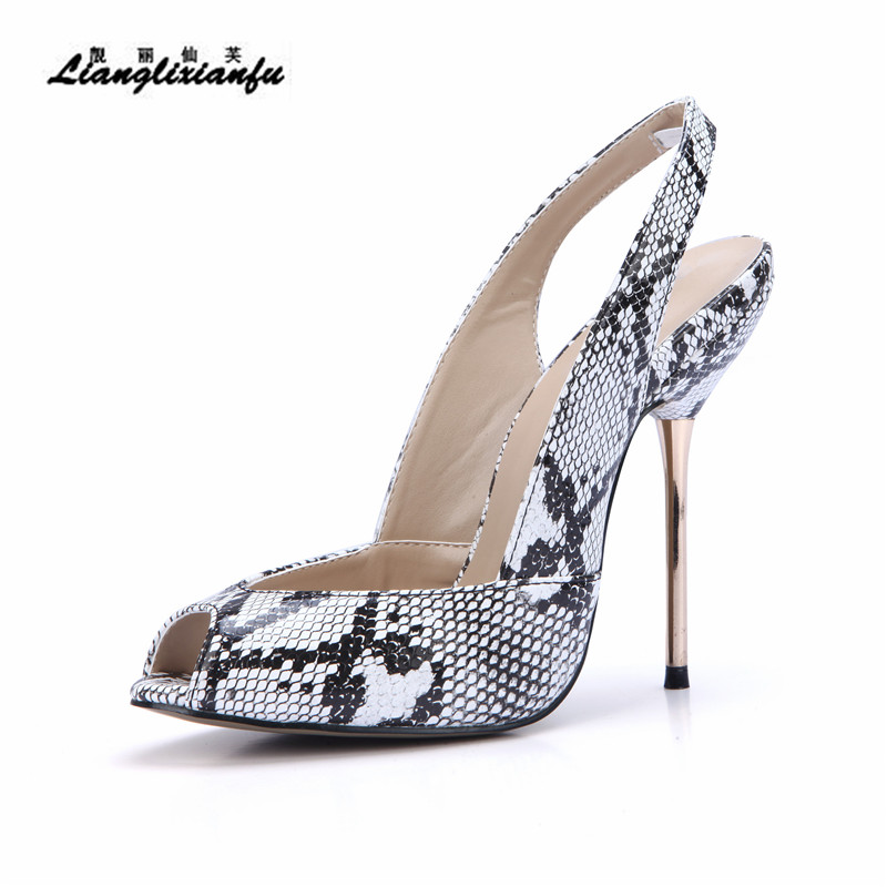 LLXF Summer Sandals zapatos Stiletto Ladies Open Toe Shoes woman 11cm thin High-Heeled female Snake print Pumps Plus:41 42 43 llxf summer 12cm thin high heeled ankle strap shoes woman cosplay sm pumps party sandals sexy sandalias mujer plus 35 41 42 43