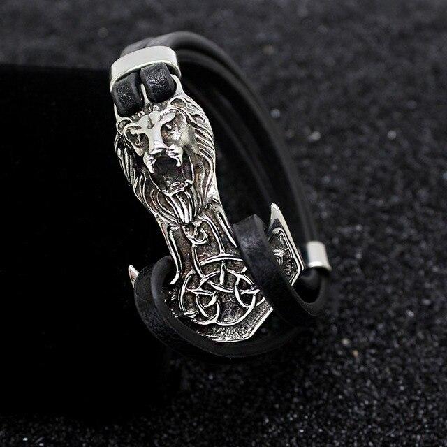 Men Bracelets Leo Stainless...