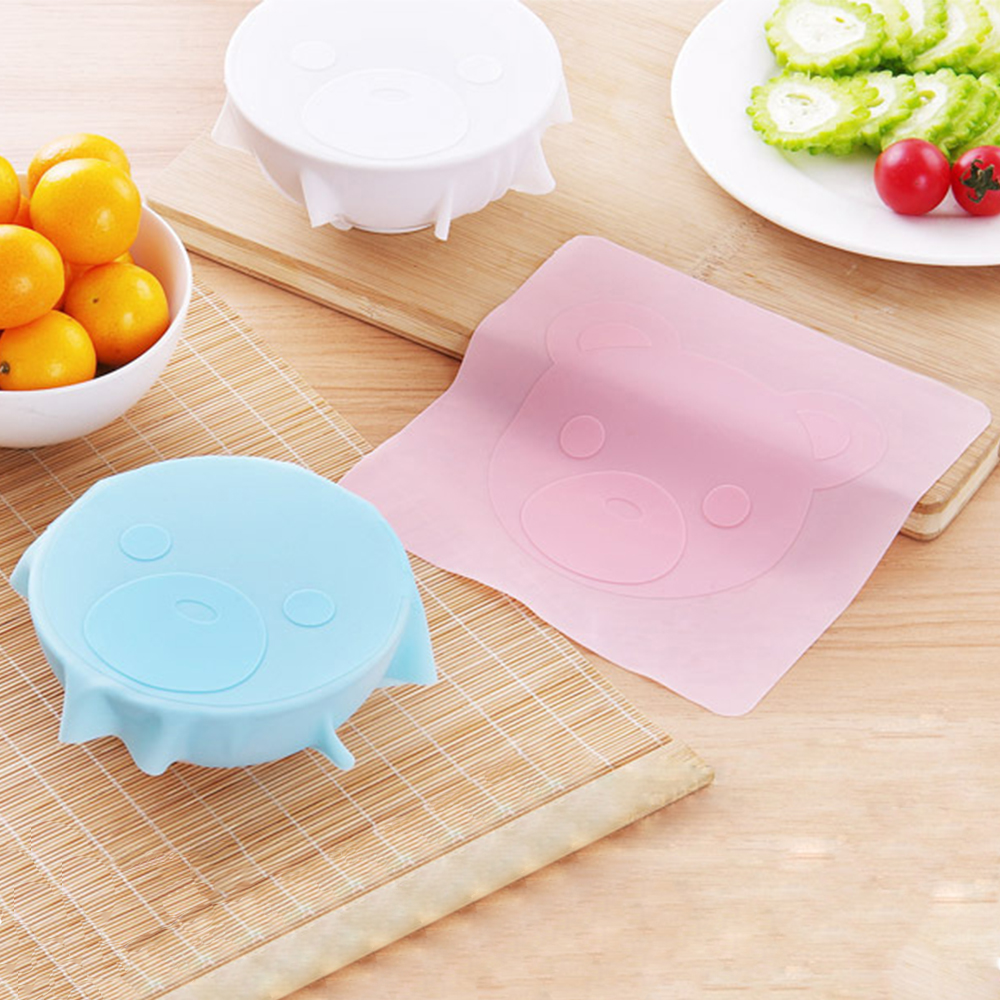 1Pc Reusable Silicone Food Cover Non-slip Bear Cling Film Stretch Wrap Seal Cover Placemat Keep Fresh Accessories Clearance Sale