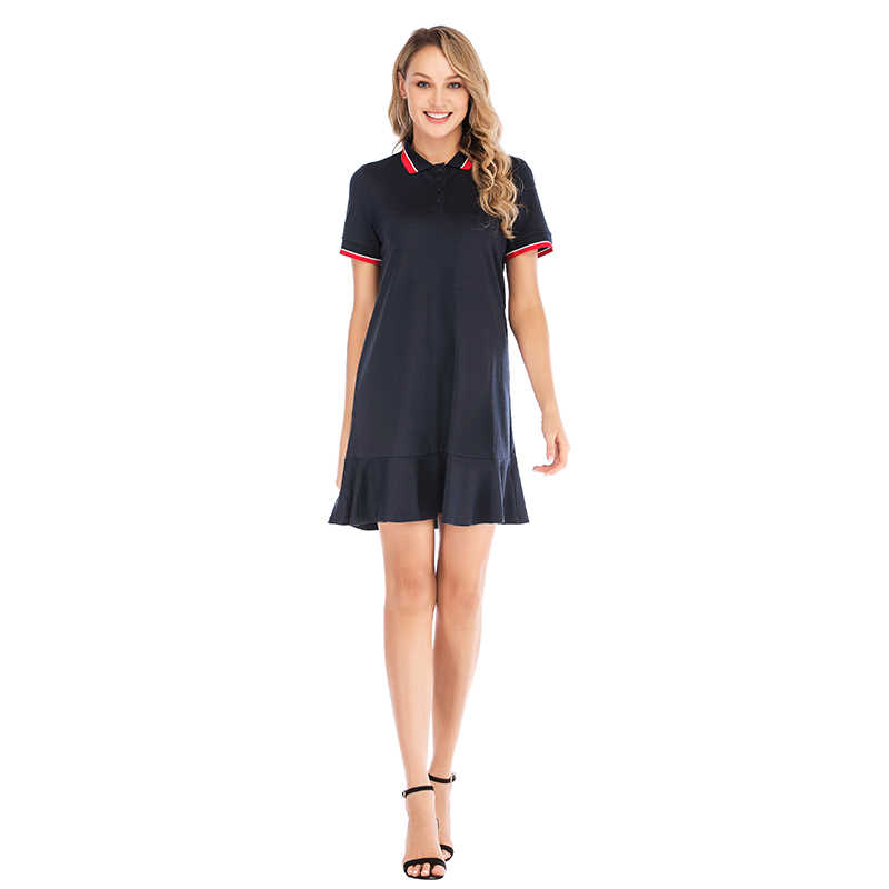 c87b4dd29fb54 Mostnica Pleated Women Student Sport Dress Shirt Turn Down Collar Polo  Short Sleeves Preppy Style Sport Tennis Dresses for Lady