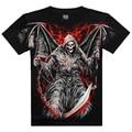 3D impresso 2016 Tendência Hedging Solto Crânio t Camisa Da Juventude Camiseta Homme Grim Reaper Plus Size 3d t-Shirt do Verão curto