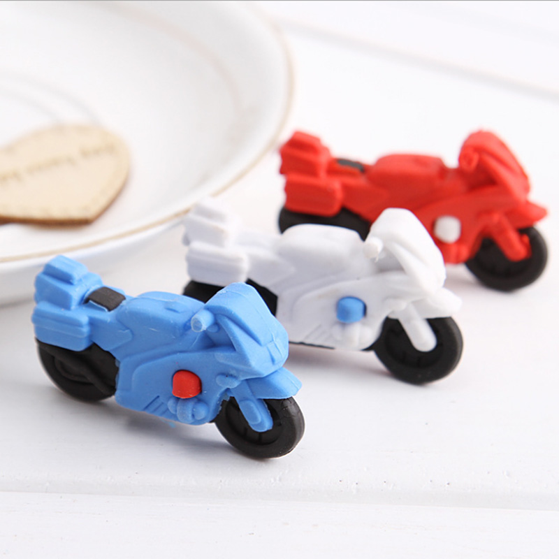 New Creative Stationery Cute Cartoon Motorcycle Eraser Pupil Animal Rubber Gift