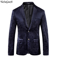 New 2018 autumn england style fashion floral blazer men slim fit wedding velveteen blazers men suits abrigos hombre JP21906
