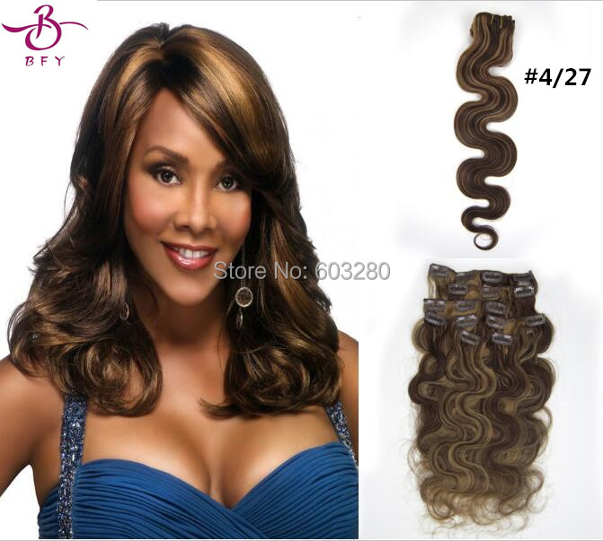 Wet and Wavy Virgin Brazilian Hair Clip in Human Hair Extensions Piano Color  #4/27- Brown Mix With Strwberry 20inch 7pcs 70g