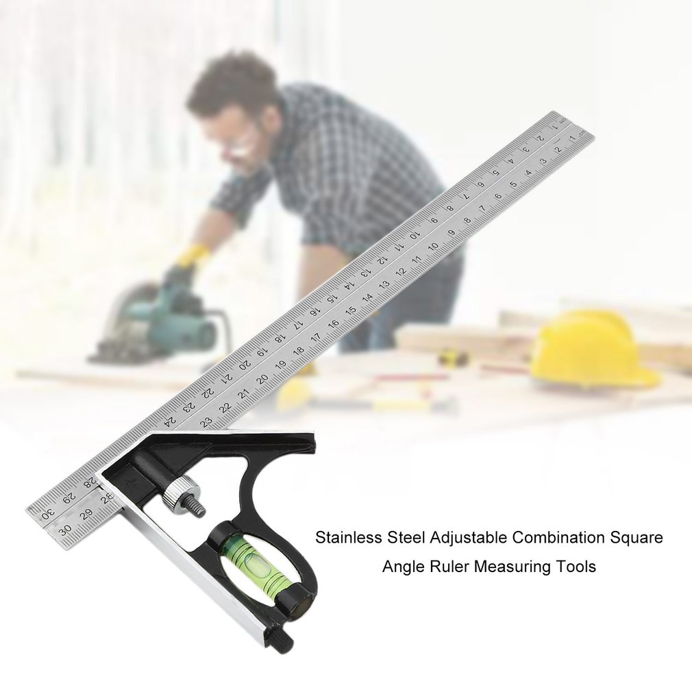 2019 Newest Stainless Steel Adjustable Combination Square Angle Ruler Measuring Tools  45 / 90 Degree With Bubble Level