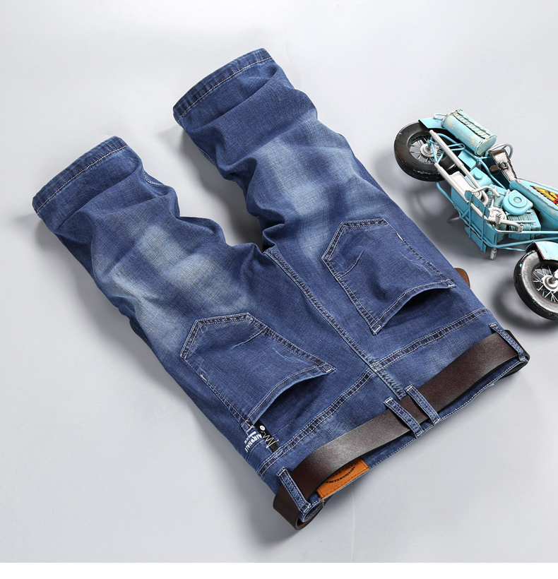 KSTUN Men Jeans Pants Denim Short Jeans Stretch Slim Fit Light Blue Fashion Pockets Designer Man