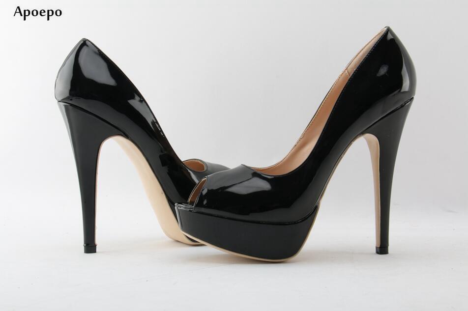 forme Lady Peep Verni Pictures noir De 2018 Cuir Chaussures Apopeo Office As Toe on Femmes Plate Sexy Robe Hauts Slip Mince Talons En À WTnnBEHvpg