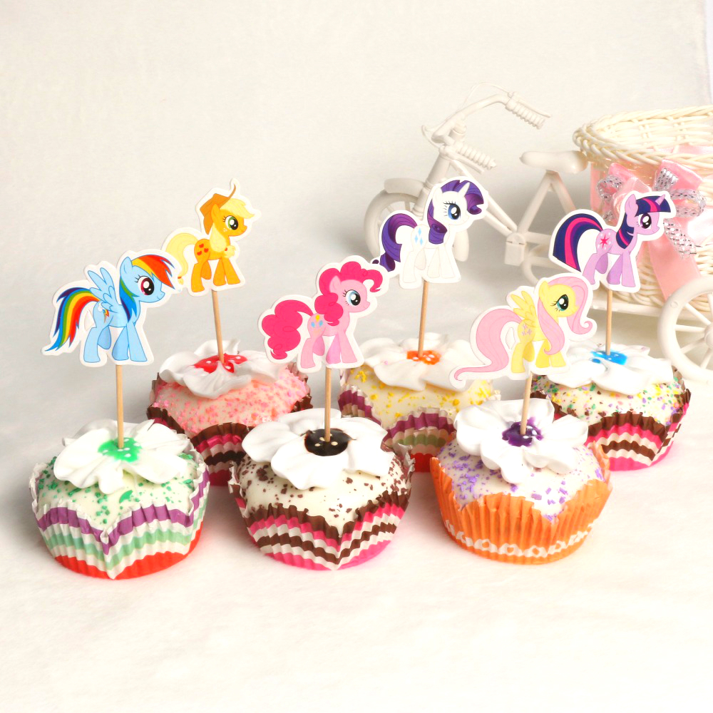 24 Pcs My Little Pony Toppers Twilight Sparkle Cupcake Picks Baby Shower Kids Birthday Party Cake Decor Supplies
