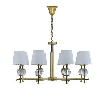 Luxe kroonluchter kristal koperen Verlichting traditionele opknoping 8 arm 10 licht Suspendsion licht eetkamer slaapkamer