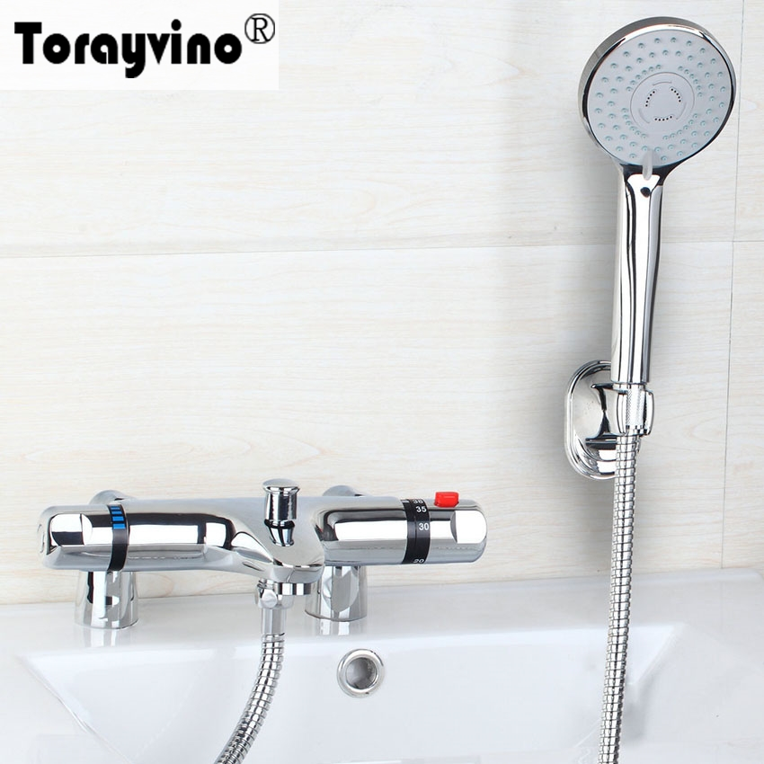 Torayvino Design Bathroom Faucet Auto-Thermostat Control Chrome Polished Hot Cold Water Mixer Outstanding Shower Faucet taie thermostat fy800 temperature control table fy800 201000