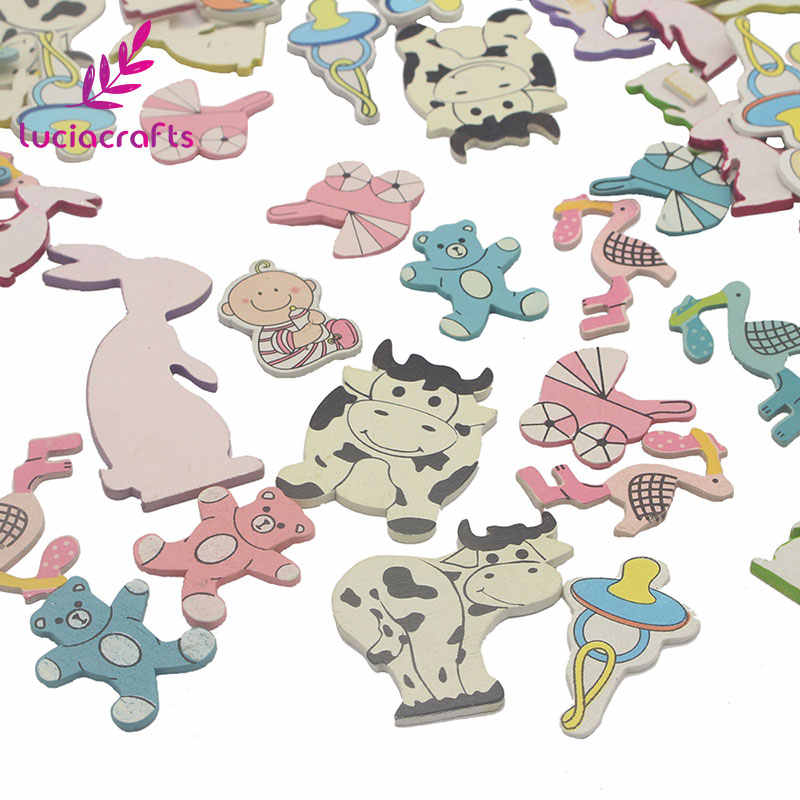 Satış Lucia el sanatları 20 g/grup yaklaşık 2*3.5cm rastgele karışık karikatür ahşap el sanatları DIY çocuk odası/Scrapbooking /doğum günü süslemeleri E0704