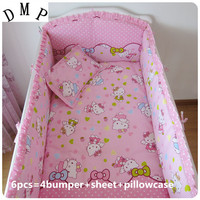 Promotion 6pcs Hello Kitty Baby Crib Bedding Set Cot Applique Embroidery Bumpers Sheet Pillow Cover