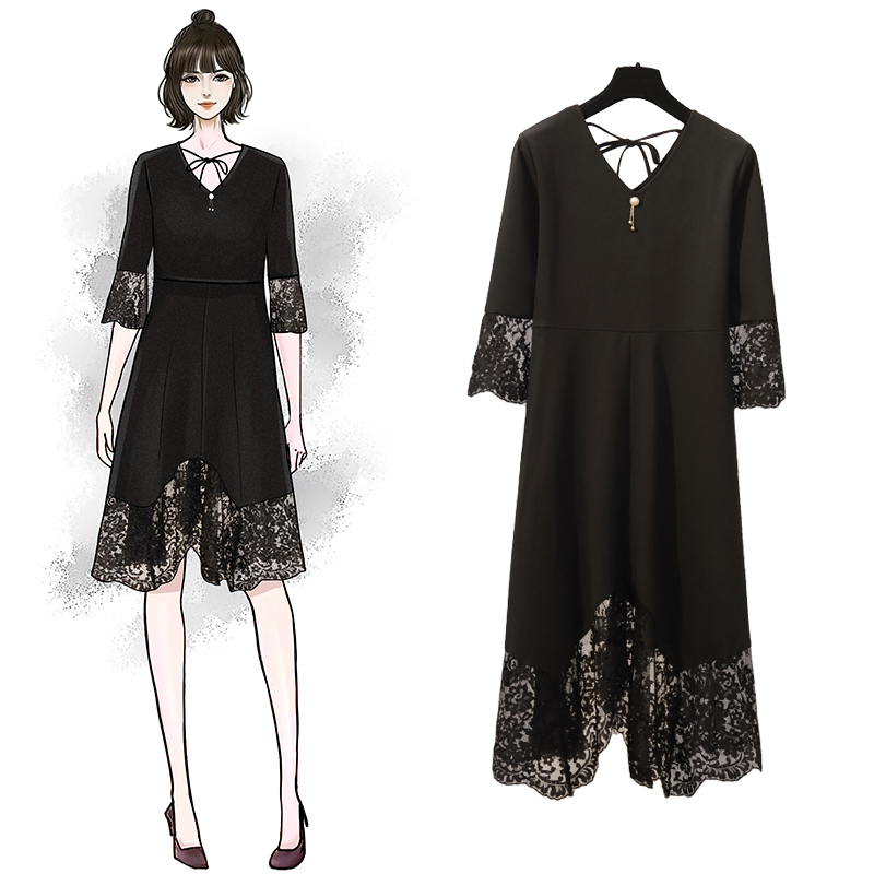 YICIYA plus size dresses xxxl 4xl 5xl women lace elegant half sleeve summer dress black v-neck splice robe spring clothing
