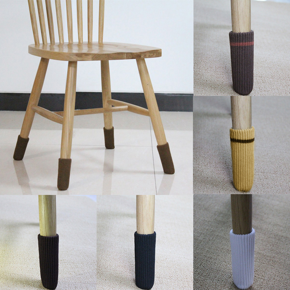 4pcs Chair Leg Socks Cloth Floor Protection Knitting Wool Socks Anti-slip Table Legs Furniture Feet Sleeve Cover Table Socks