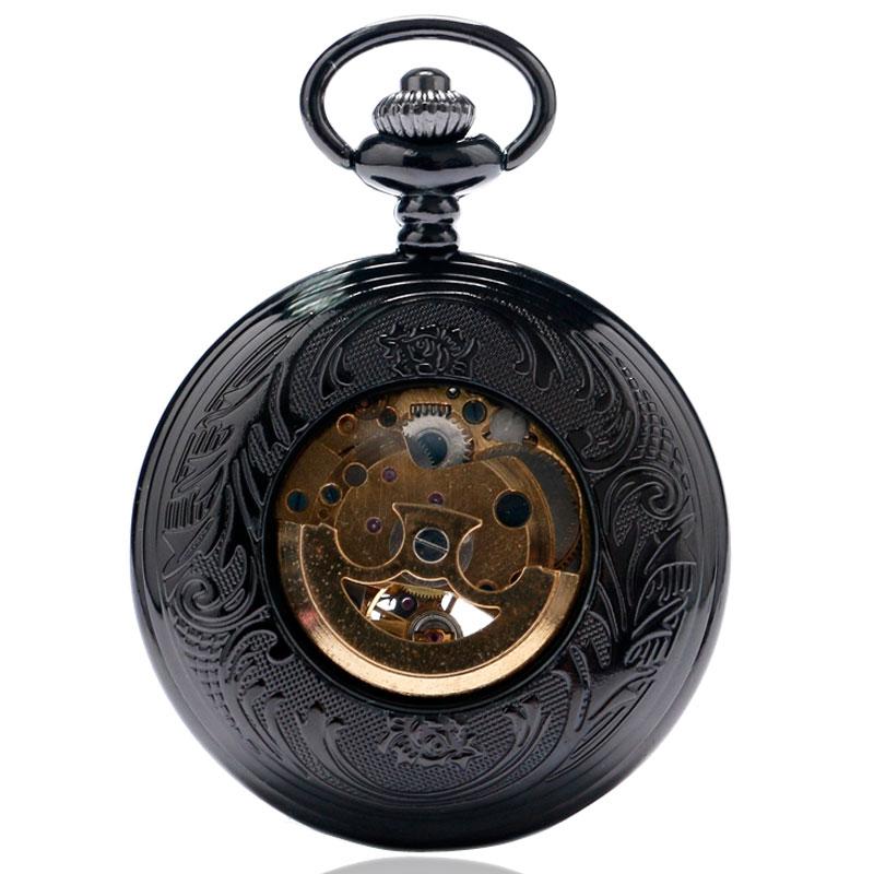 Preta com Número Relógio de Bolso Presente para Mulher Caixa Romano Dourado Esqueleto Dial Mão-vento Mecânico Steampunk Masculina Oca