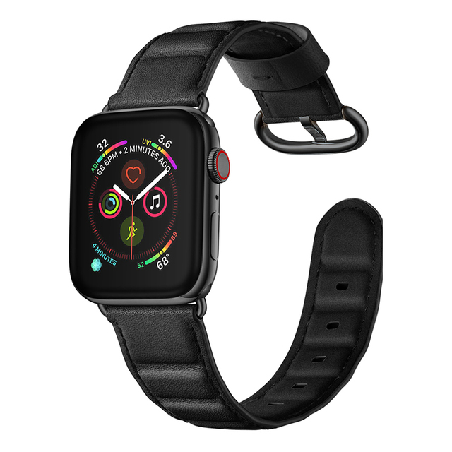 Newest Genuine Leather Bamboo Style Watch Band Strap For Apple Watch Series 4 3 2 1 iWatch Watchbands Wrist Straps 38-40-42-44mm   Watchbands