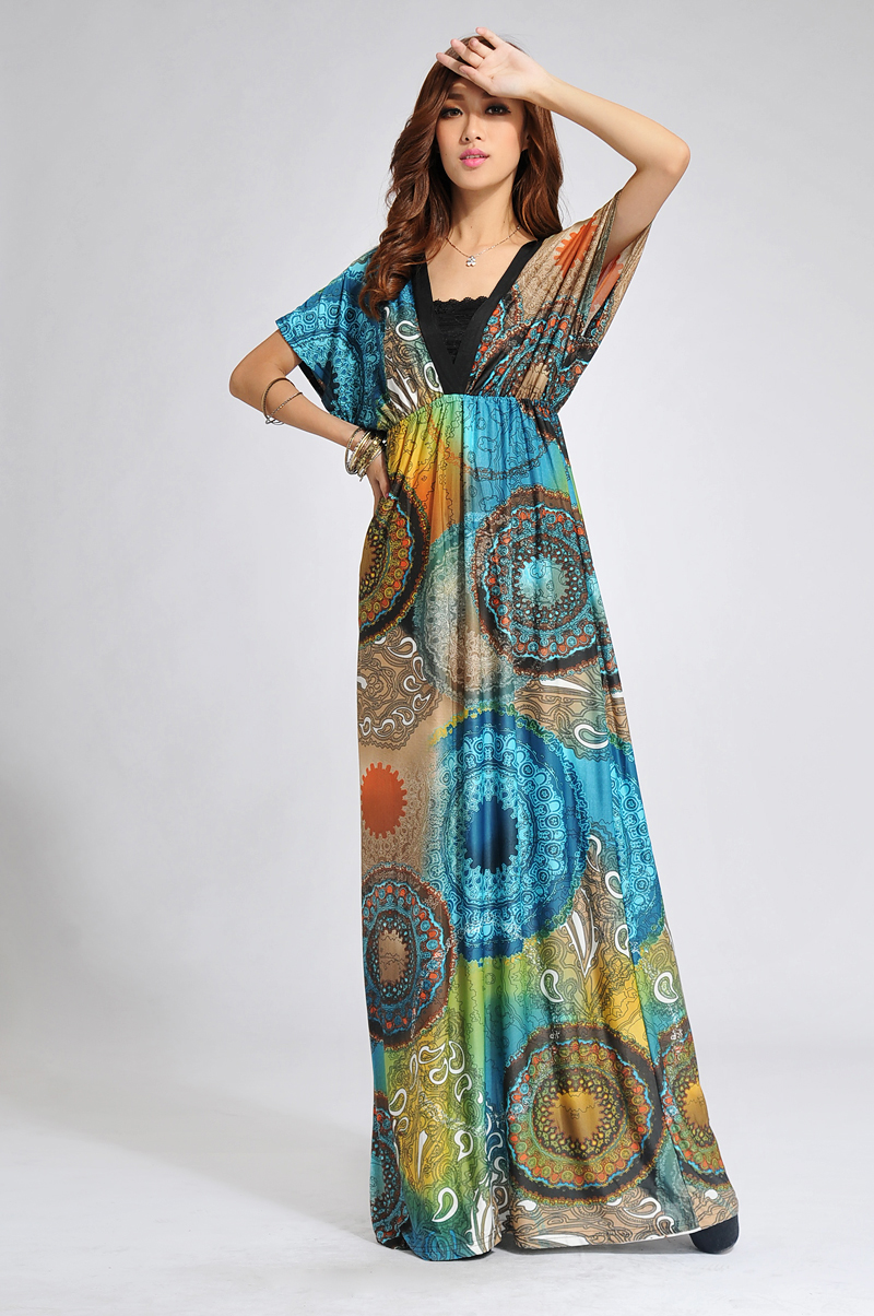 Boho Chic Printed Long Dress Bali Summer Maxi Boho Dresses-in