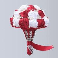Custom Handmade Diameter 24cm Wedding Flower Bouquets Bridal Bouquet Ivory Gold and Red Satin Rose Flower Bouquet