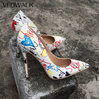 Veowalk Artistic Graffiti Printed Women Sexy Stiletto High Heels Ladies Wedding Party Pointed Toe Pumps Shoes Customized Accept